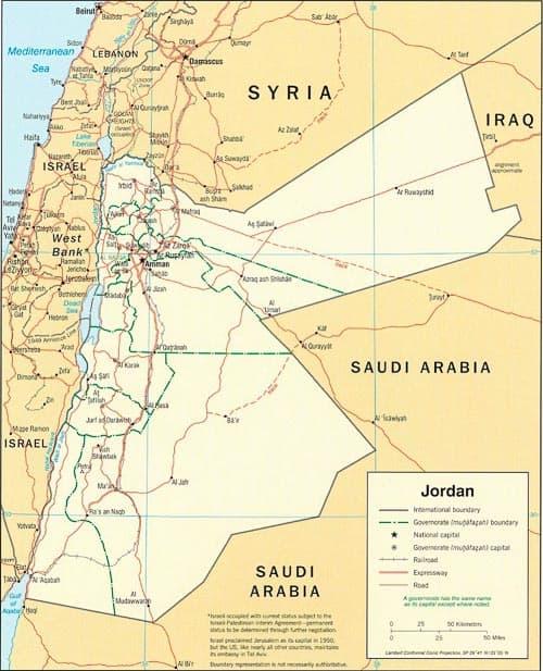 Travel to Jordan map