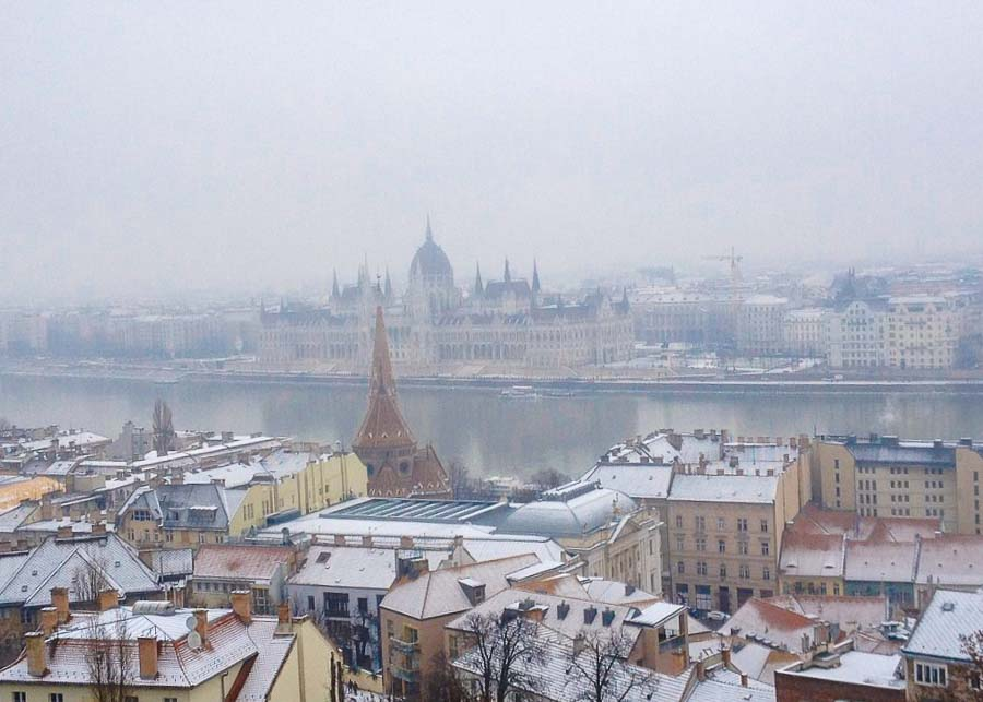 view of the frozen River Danube in Budapest