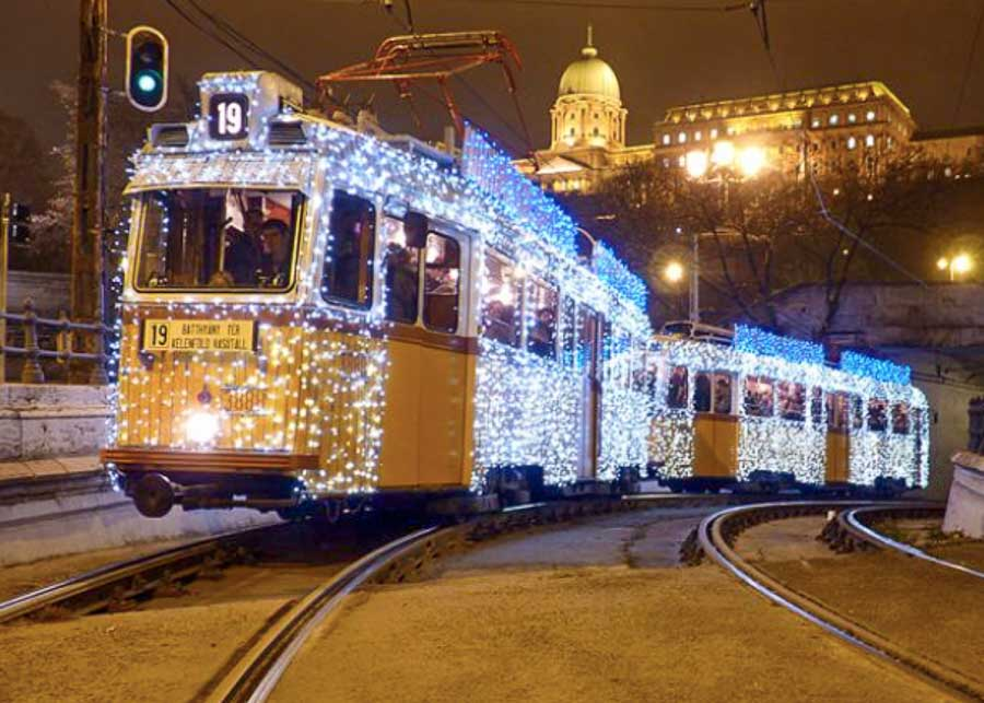The Christmas tram in Budapest